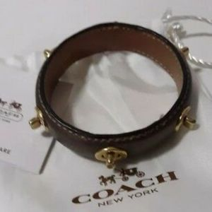 Coach Brown Leather turnlock bangle bracelet